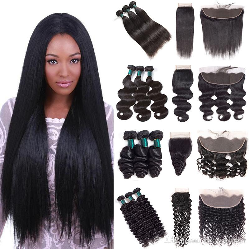 Cuticle Aligned Hair Extensions Grade 10A Brazilian Virgin Hair Weave 3 Bundles With 4x4 Lace Closure or 13x4 Lace Frontal Great Quality