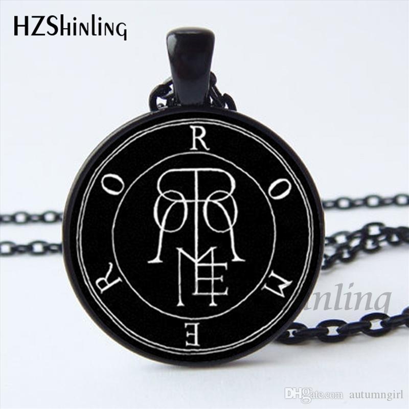 NS-00809 Newest Baphomet Pentagram Logo Pendant Necklace Lilith Sigil Seal Chain Necklace Glass Photo cabochon necklace