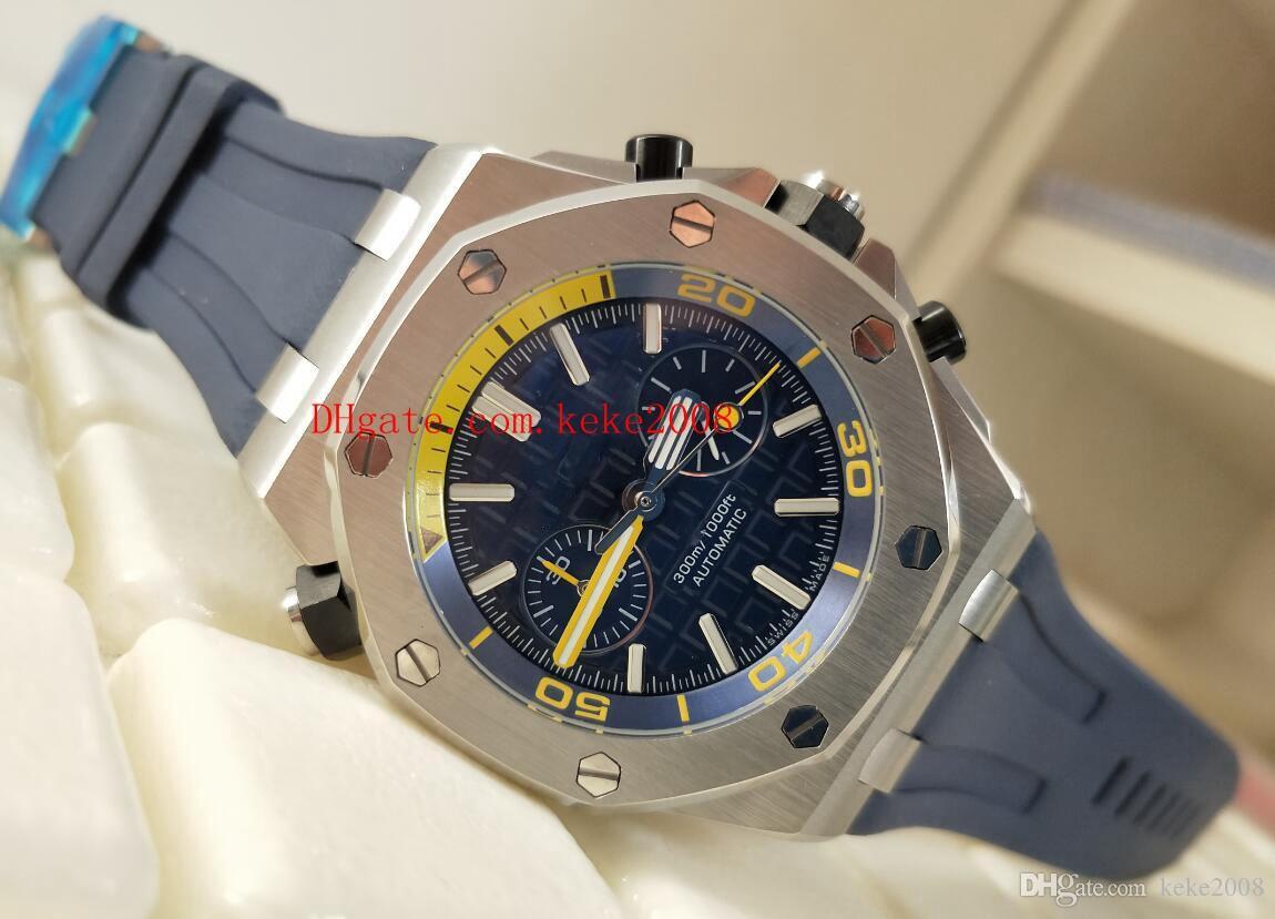Montre série de luxe classique en mer 26703ST.OO.A027CA.01 cadran bleu bandes de caoutchouc bracelet en acier inoxydable montre chronographe VK Quartz Mens