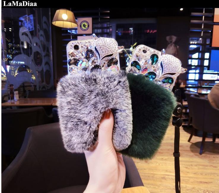 도매 럭셔리 폭스 라인 석 다이아몬드 진짜 토끼 모피 소프트 커버 케이스 아이폰 X XR XS MAX 6 6S 7 8 플러스 블링 케이스