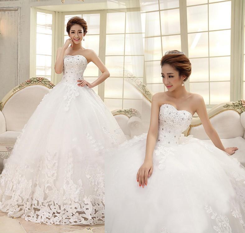 Vestido De Noiva 2018 Vestidos De Noiva Strapless Querida A Linha De Vestidos De Casamento Até O Chão Apliques De Cristal Robe De Mariage