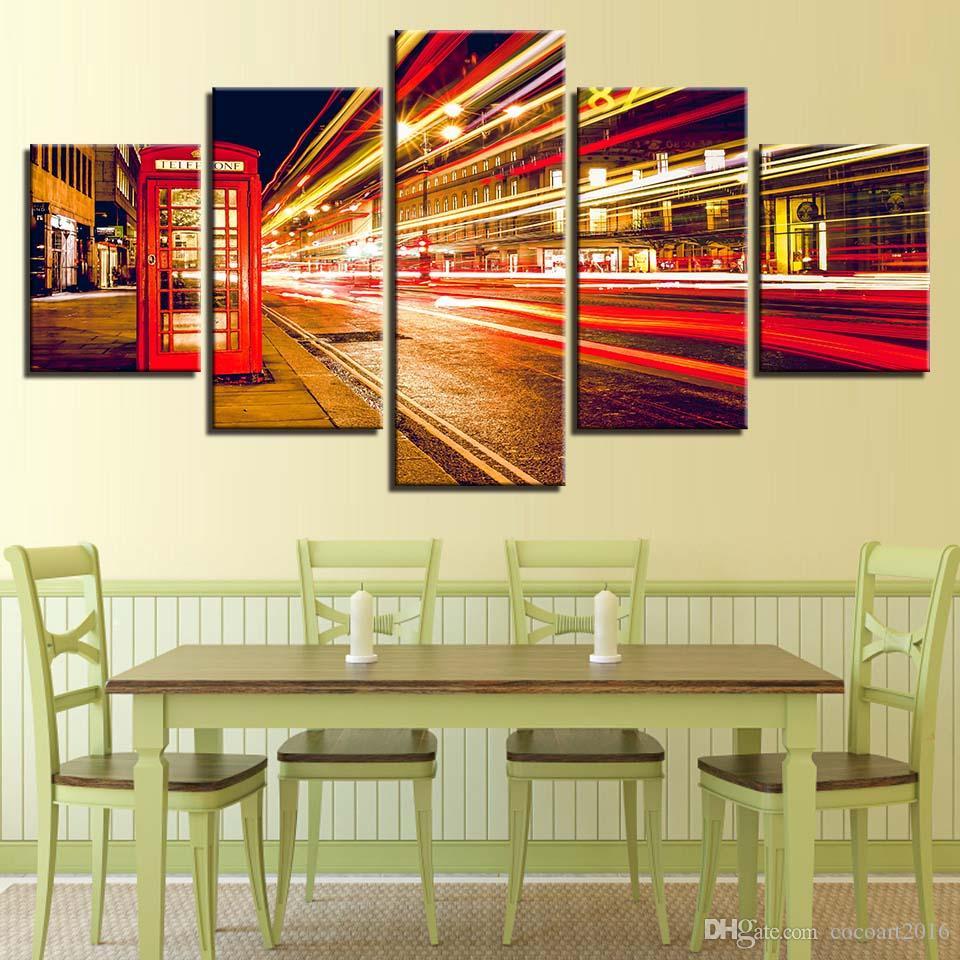 Duvar Sanat Tuval Boyama HD Baskılar Ev Dekorasyon 5 Parça Oturma Odası Resimleri Yapıt Için Şehir Gece Manzara Modüler Poster