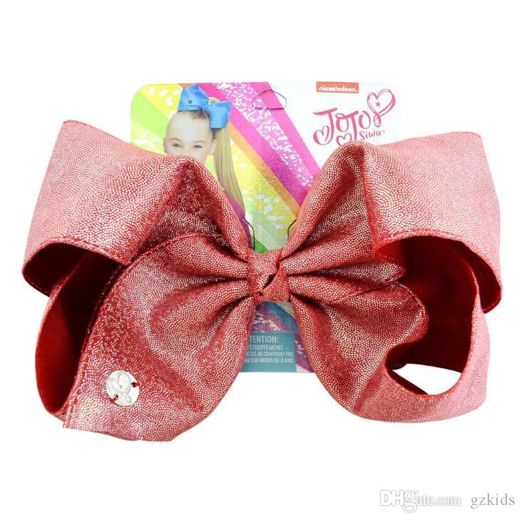 Jojo Siwa Bow Leather Laser Cloth Extra Large Bow Hairpin Best Xmas Present Stocking Filler for Girls