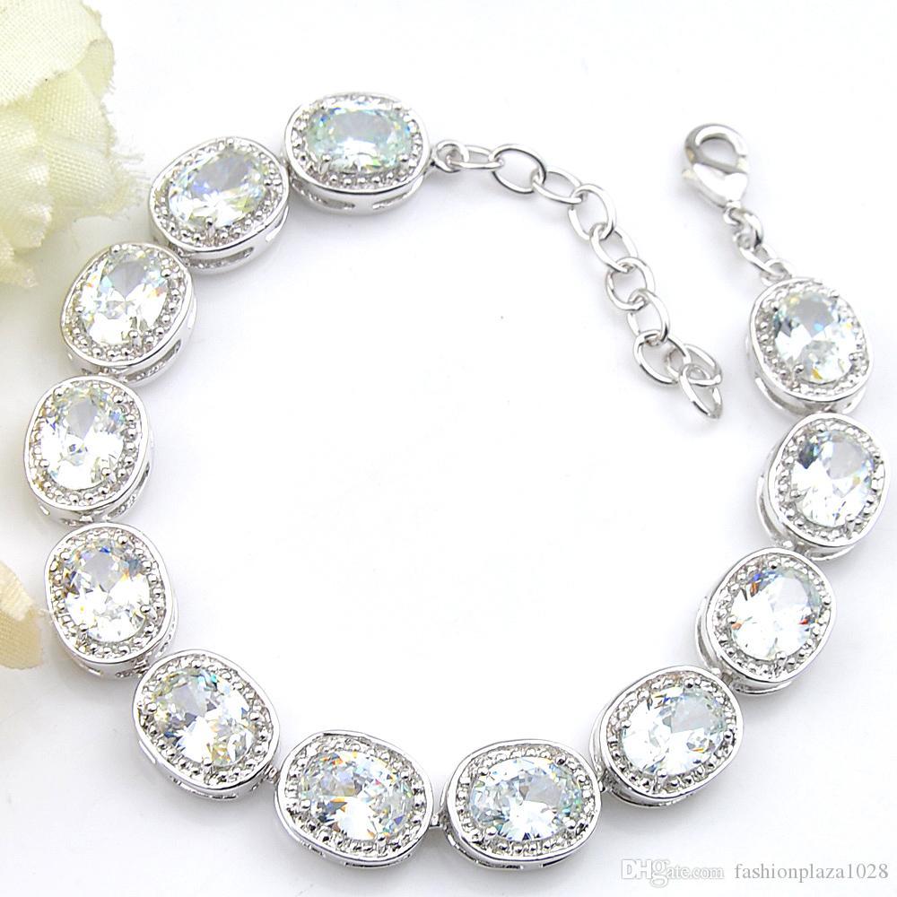 LUCKYSHINE 925 per la donna ovale bianco topazio regolabile bracciali fascino Matrimoni Russia L'Australia Souvenir Bracciali