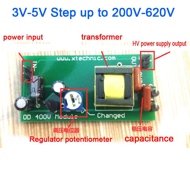 Freeshipping High Voltage DC-DC Boost Converter input 3V-5V Step up to output 200V-620V 300V 350V adjustable Power PSU Module