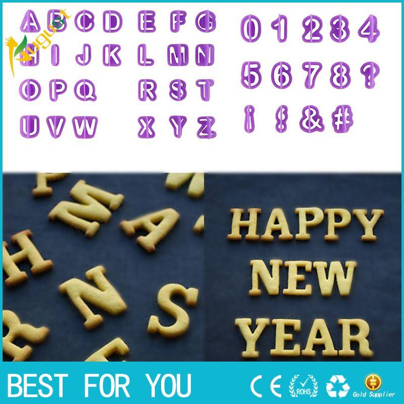 New hot 40pcs/set Alphabet Number Letter Plastic Fondant Cake Decorating Cookie Cutter Biscuit Mold