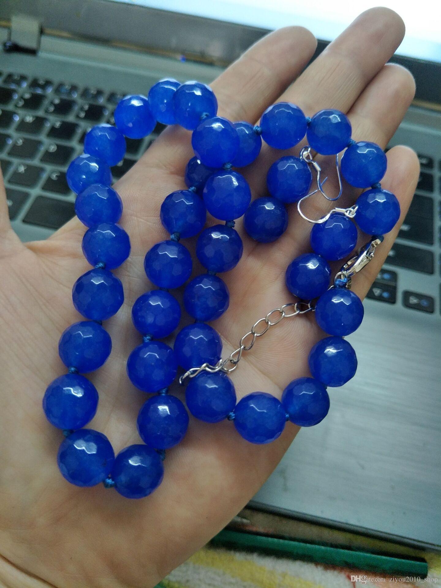 Le donne fatte a mano12mm hanno affrontato i monili di modo dei branelli della collana della perla del giada blu 45cm