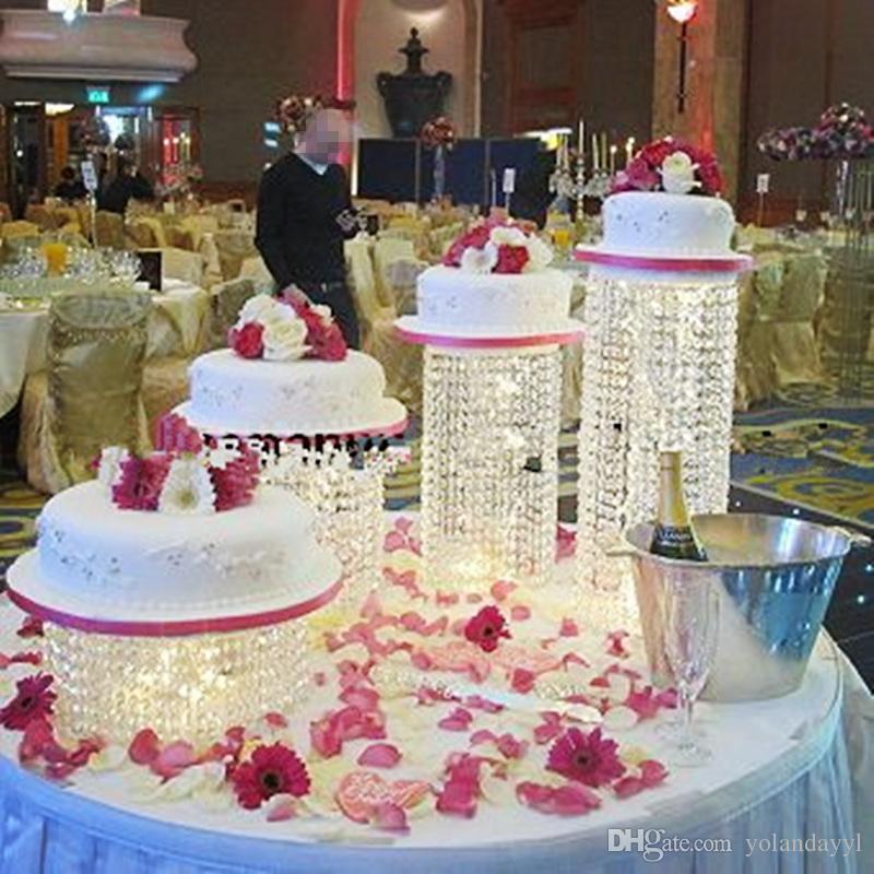4pcs / lot acrylique cristal transparent perles gâteau stand stand pièce maîtresse mariage gâteau affichage d'anniversaire décoration