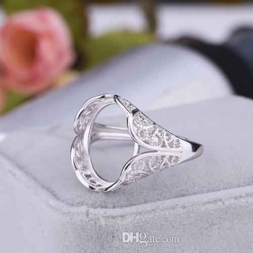 2019 925 Sterling Silver Engagement Wedding Ring White Gold Color 13x16mm Oval Cabochon Semi Mount Ring For Women Diy Stone From Himyjewelry 13 18