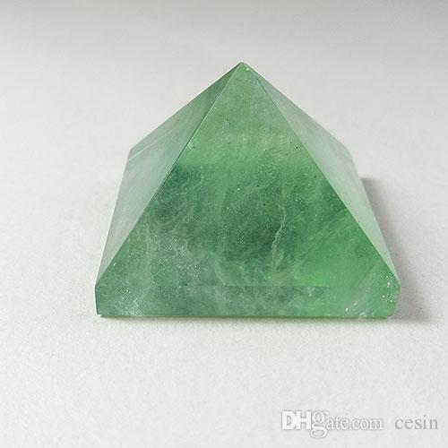 5pcs Green Fluorite Quartz Crystal Pyramid For Healing Positive Psychic Energy Reiki Tumbled Stone Home Office Gift Loose Quadripod New