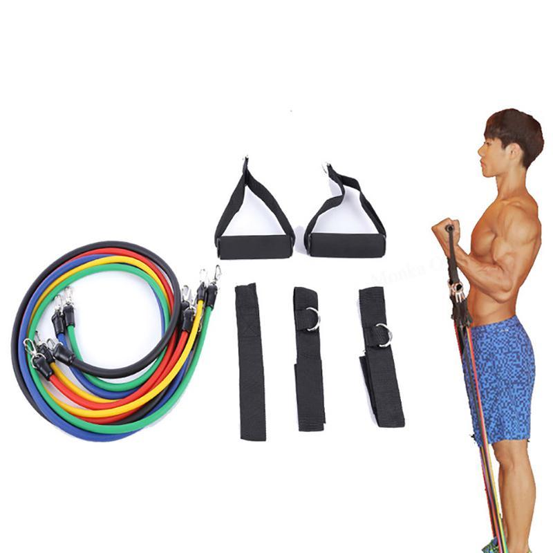 11 Peças / set Bandas de Resistência Expander Puxar Corda de Fitness Ginásio de Borracha Crossfit Tubos De Látex Pedal Excerciser Treino de Treinamento do Corpo