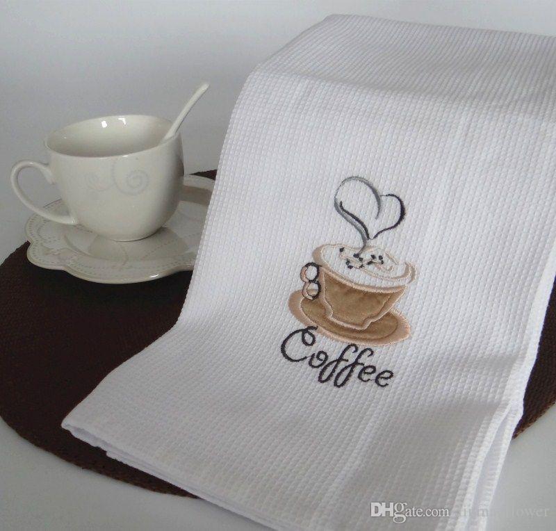 Nuevo 50x70 cm Blanco Waffle Bordado Café Cereza Servilletas de mesa Paño de cocina en casa Toallas de té Apoyos de fotografía Pads
