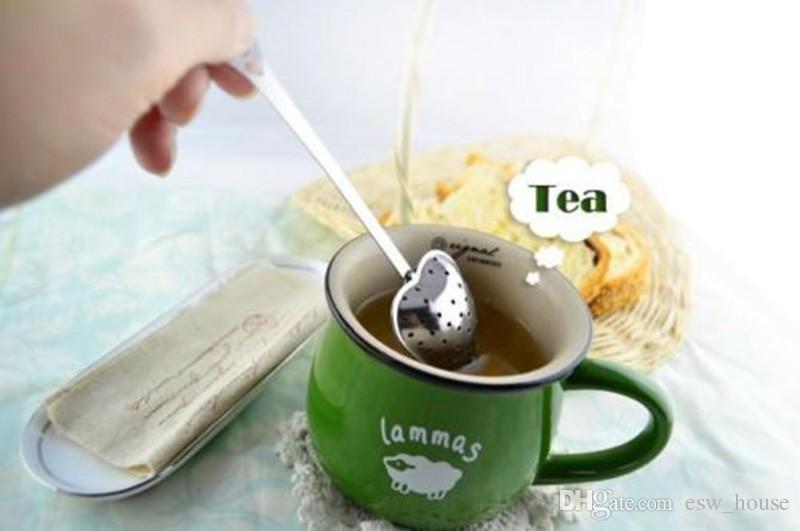 شكل قلب infuser الشاي الفولاذ المقاوم للصدأ الشاي infuser ملعقة الشاي مصفاة الحاد الكلاسيكية مقبض دش لطيف مرشح الشاي