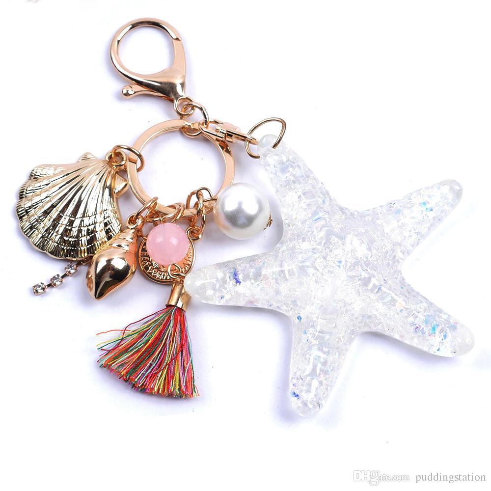 New Starfish Pearl Shell Porte-clés Chaîne Porte-clés en cristal Porte-clés Porte-clés