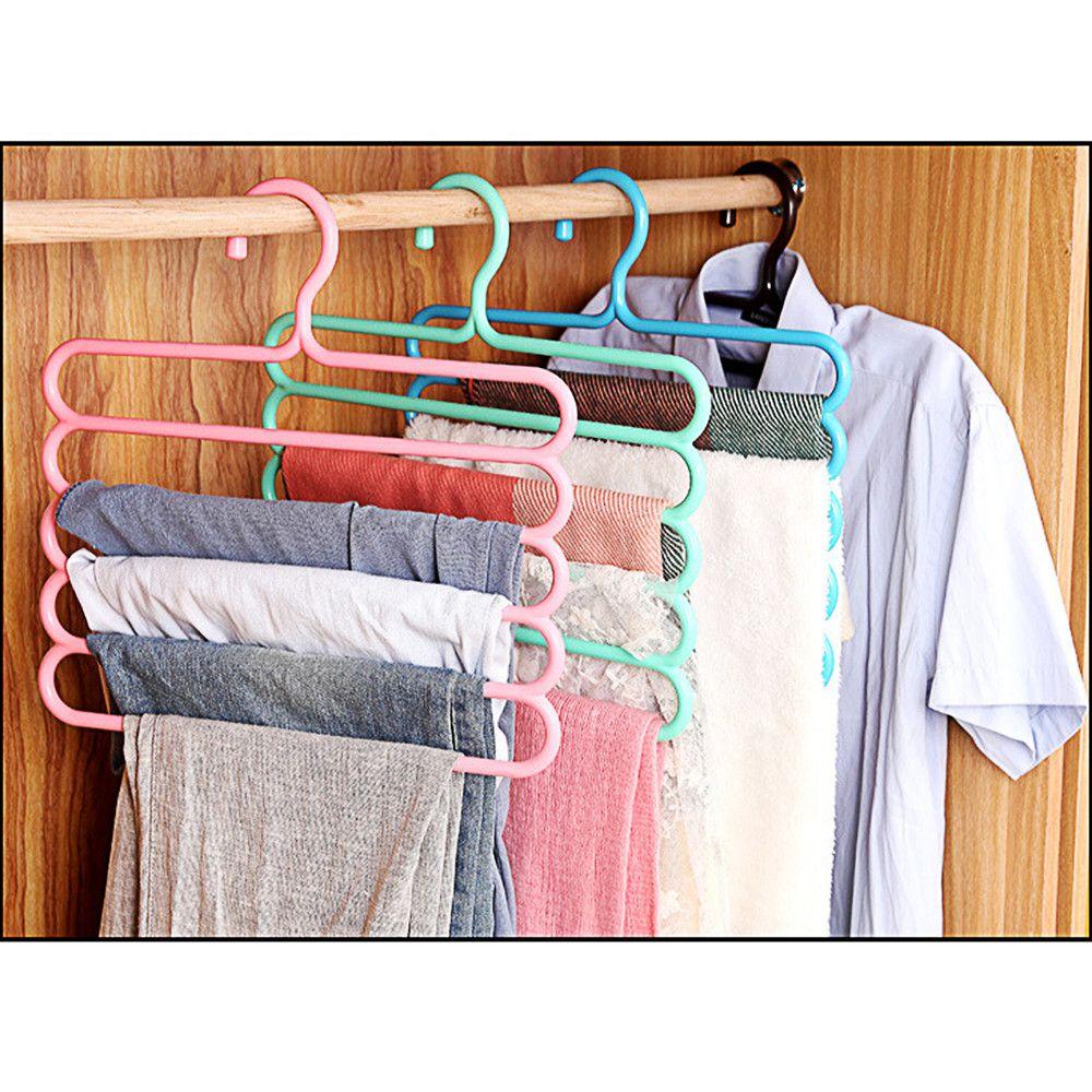 Non-Slip Multi 5 layer Hangers Blouse Tops Trouser Holder Space Storage Rack