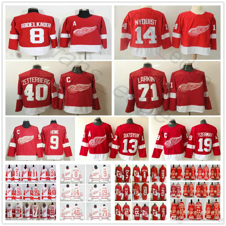 2018 New Detroit Red Wings 9 Gordie Howe Pavel Datsyuk 14 Gustav Nyquist 19 Steve Yzerman 40 Henrik 71 Larkin Jersey