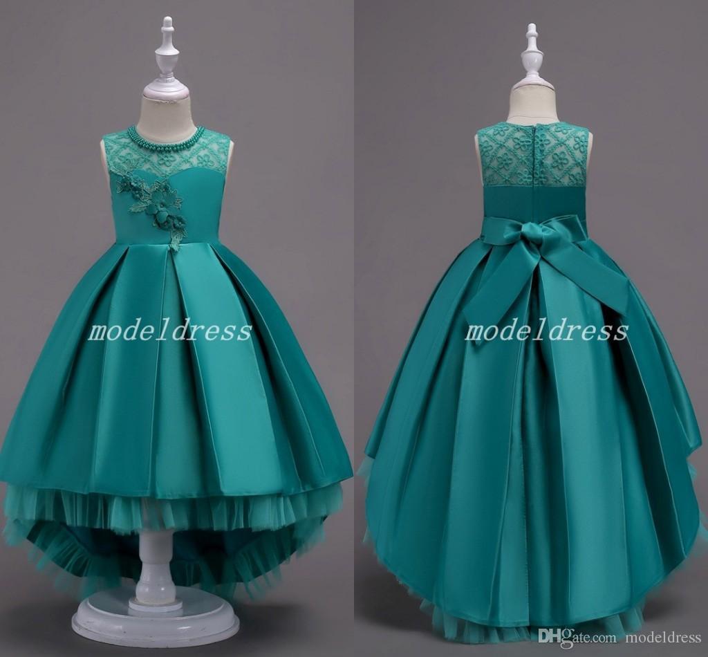 Düğünler mücevher Sweep Tren Aplikler Ruffles Kız Pageant Elbise Çocuk Doğum Günü Partisi Abiye Ucuz İçin Şık Balo Çiçek Kız Elbise