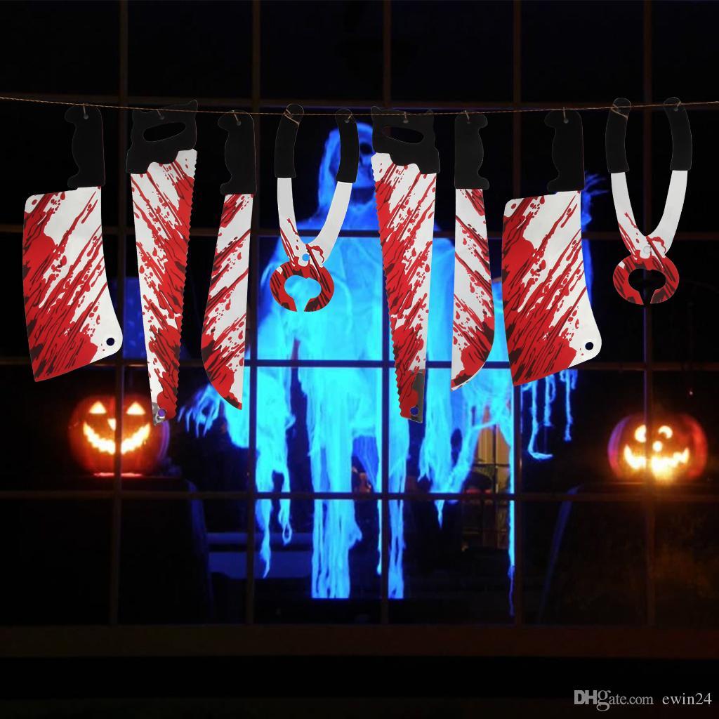 Хэллоуин висит страшно висит кулон украшения ужас дом с привидениями оружие гирлянда реквизит пластиковые гирлянды баннер украшения 8 шт.