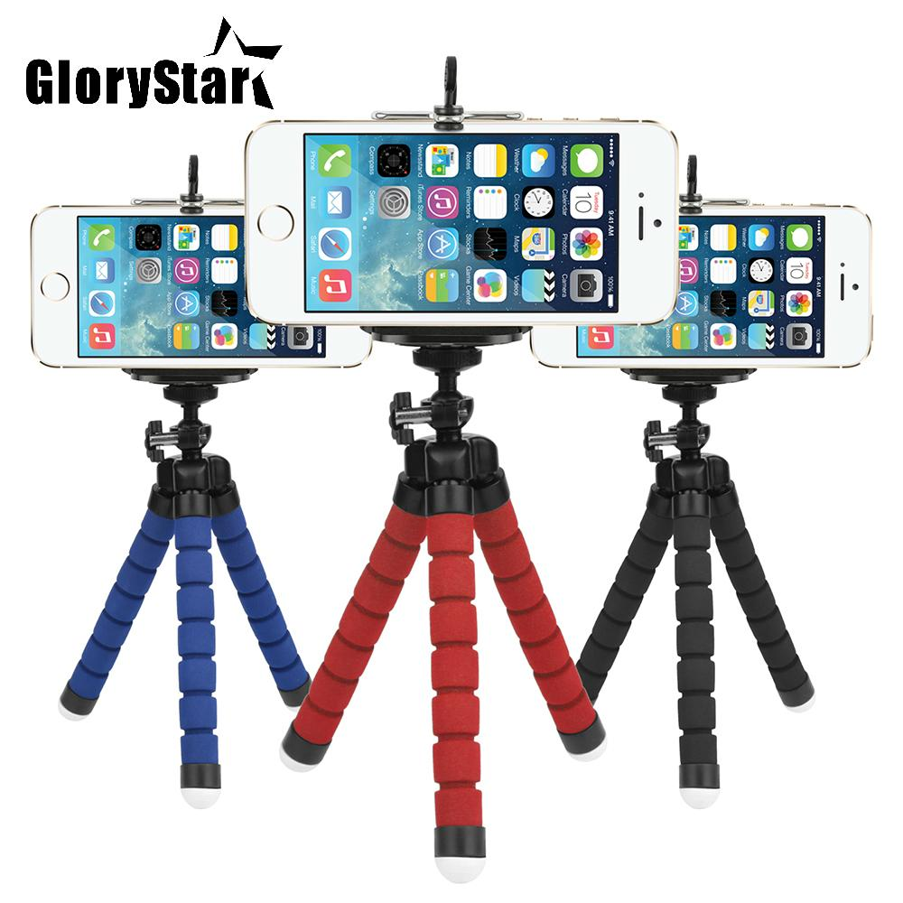 Glorystar Sponge Flexible Octopus Tripod For Phone with Phone Holder Tripod for iPhone Samsung Huawei Xiaomi Lenovo Smart Mobile