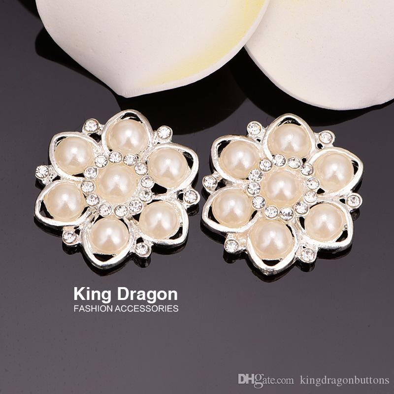 Botões de decoração de casamento botão de enfeite de strass 30 MM 20 pçs / lote plano de volta cor prata KD14