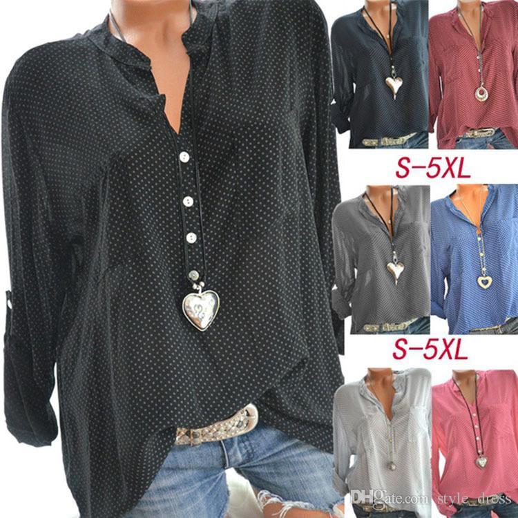 Blusa de lunares de las mujeres con cuello en V de manga larga de verano OL oficina de oficina floja Top Camisas