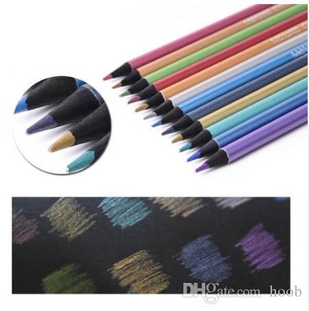 مجموعة قلم رصاص معدني 12pcs - الفنان 0.3MM ديكور قلم رصاص ملون لديي صور Ablum ، بطاقة صنع ، ورقة سوداء ، رسم ، كتاب تلوين