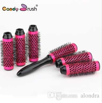 Le meilleur brosse ronde de cheveux a placé la brosse thermique sèche de cheveux de coup avec le rouleau de diamètre détachable 30mm brosse en céramique 6rollers