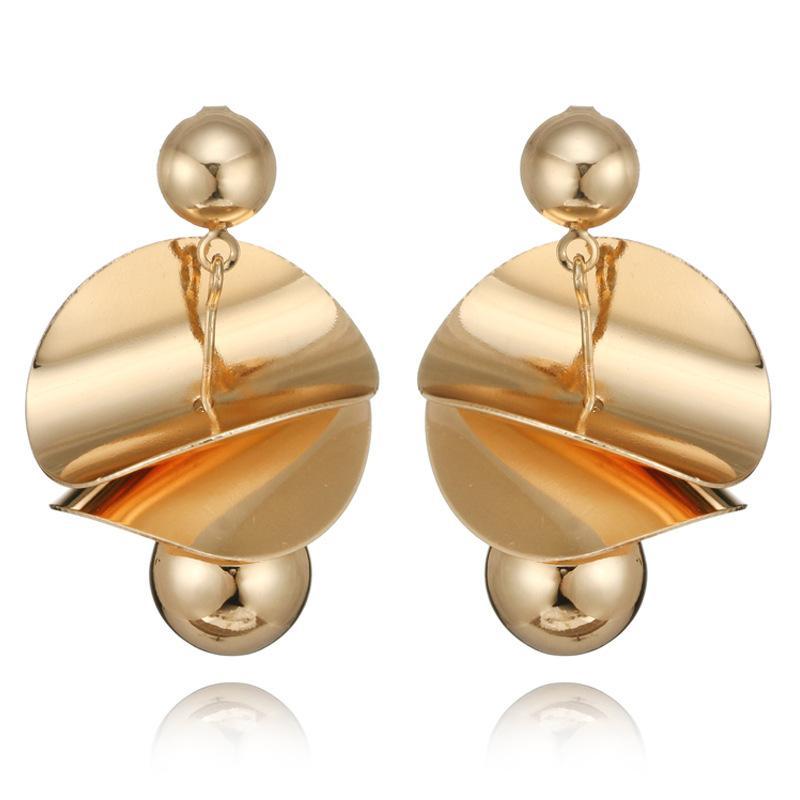 2018 giapponese tondo + perline orecchini moda nuovo oro / argento lega specchio lucido geometrico personalità creativa orecchini di fascino per le donne