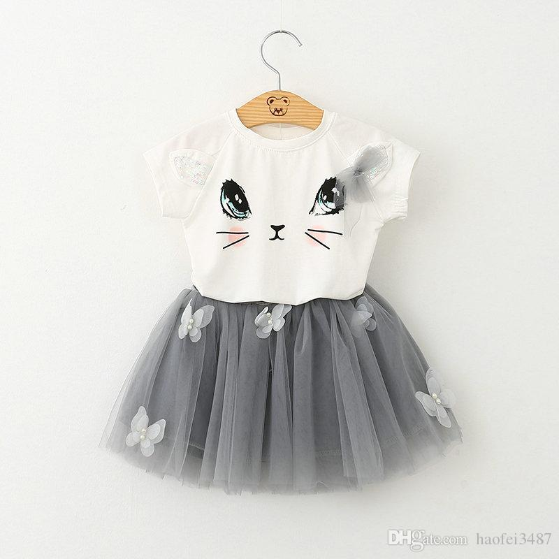 Girl Dress 2018 New Summer Bubble Skirt Tutu Dress Casual Style Cartoon Kitten Printed T-Shirts+Net Veil Dress 2Pcs for Girls Clothes 2-6Y