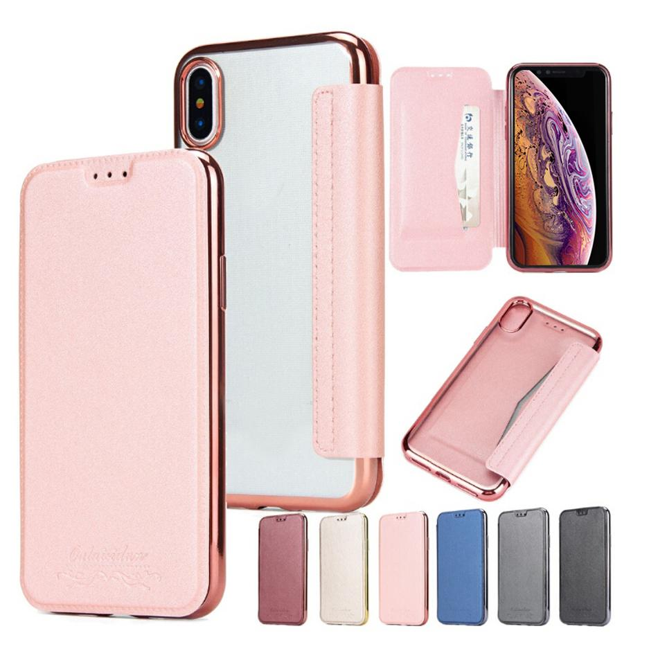 PU Leather Flip Cover Case Electroplated Transparent TPU Back Cover Card Slot Wallet Soft Clear for iPhone XR XS 7 8 Samsung S8 S9