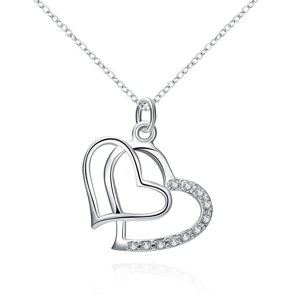 Joyería de moda plateado 925 plata esterlina con incrustaciones de circón doble corazón colgante collar envío gratis