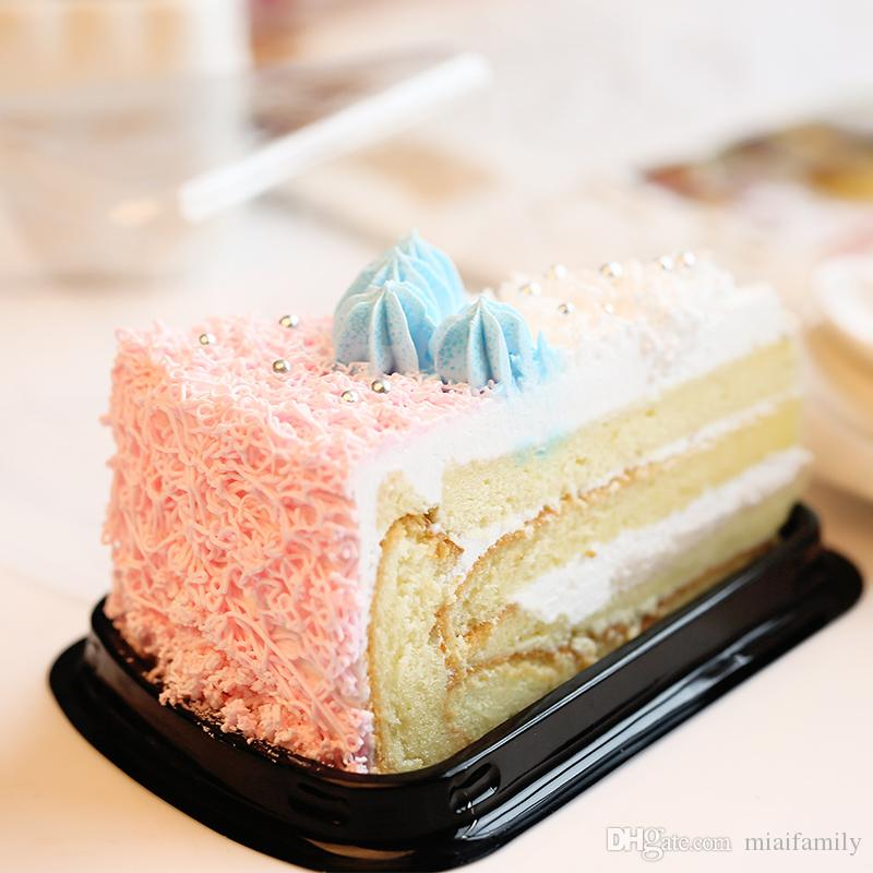 1000 unids = 500 sets Desechable Plástico Transparente Queso triángulo Torta Postre Cajas De Plástico de Recogida Caja de Pastel para Pastelería Panadería Postre