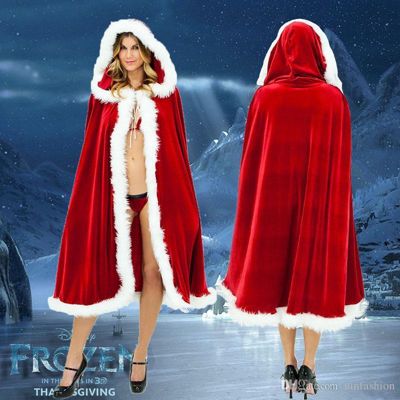 Ladies Womens Santa Hooded Red Velvet Mini Christmas Cape Fancy Dress Accessory