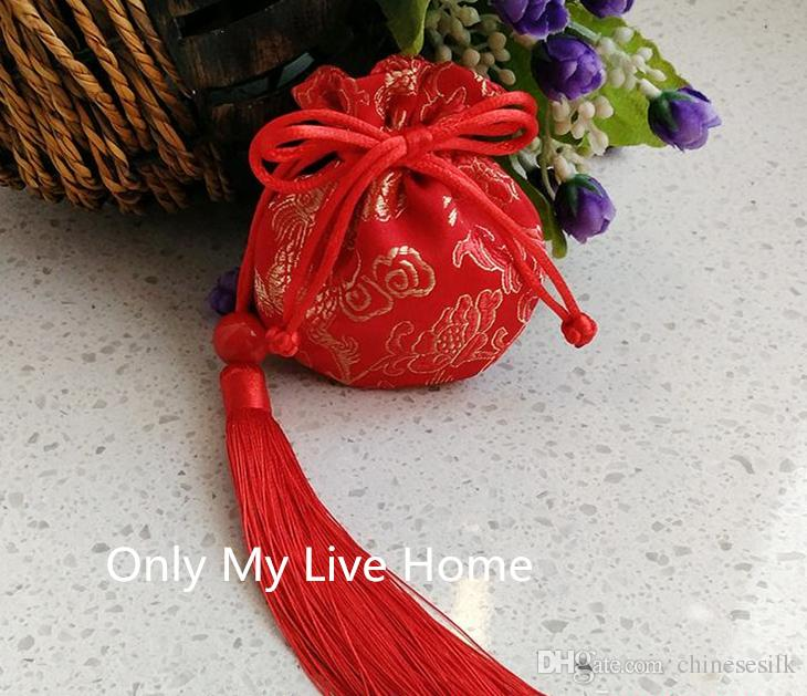 Chinese Tassel Small Silk Satin Pouch Drawstring Bag Jewelry Packaging High Quality Mini Gift Bags Sachet size 8x9cm 2pcs/lot
