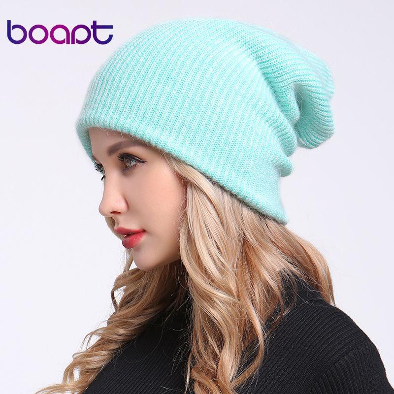[boapt] double-deck soft rabbit knitting thick bonnet warm caps solid winter hats for women's hat skullies beanies female cap S18101708