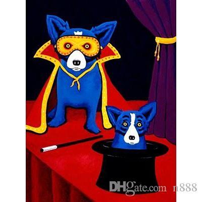 Grande dipinto a mano HD George Rodrigue animale blu cane arte pittura a olio su tela decorazione della parete di casa di alta qualità multi dimensioni a176