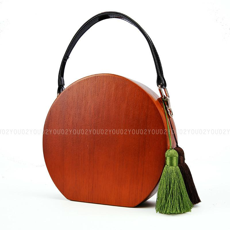 Wood Material PU Leather Fashion Wood Circular Totes Women Bags Travel Round Handmade Clutch Bags Beach Handlbag Purse