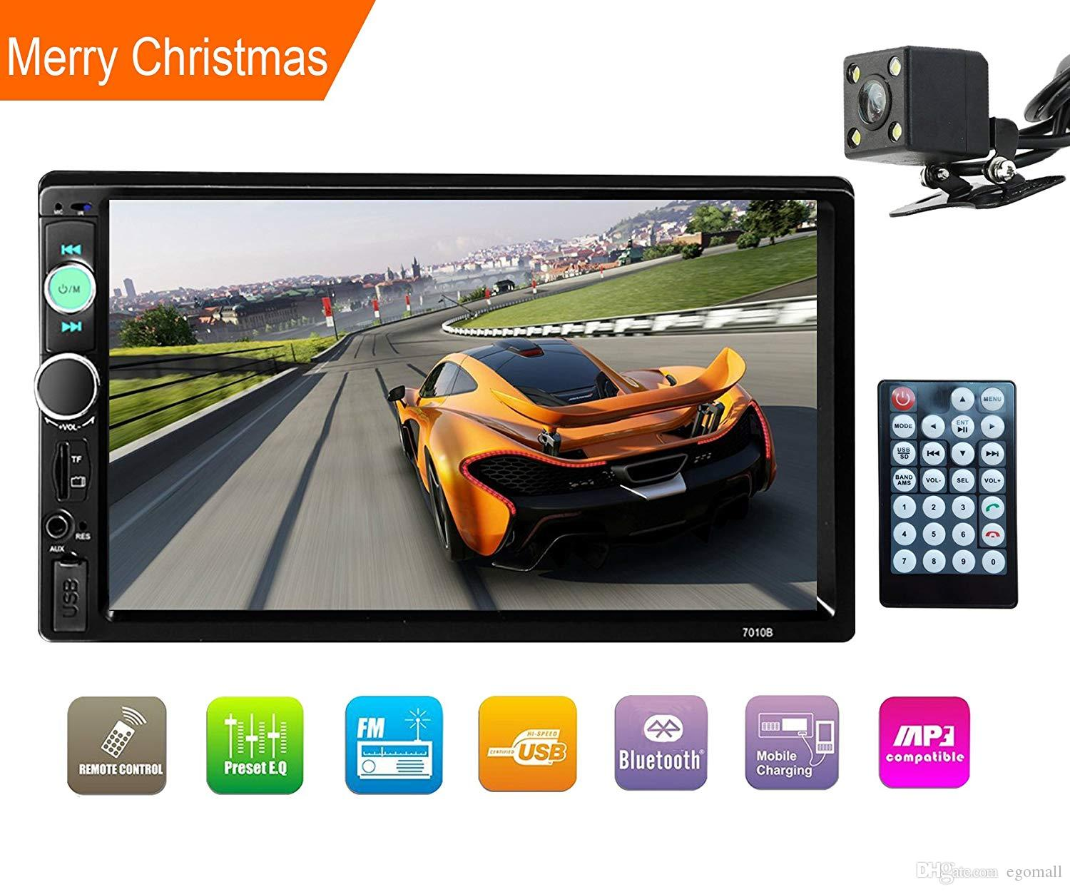 """Double Din Stereo,car 7"""" In-Dash Touchscreen Stereo with Bluetooth/Rear View Camera/FM Tuner HD Radio Fit for 12V Voltage (No DVD & GPS Navi"""