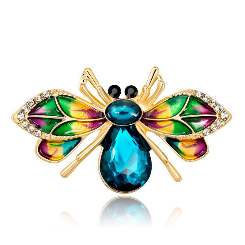 Colored gradient bee enamel pin brooch for women blue glass bee badges clips for scarves Dress brooch jewelry Brooch Accessories