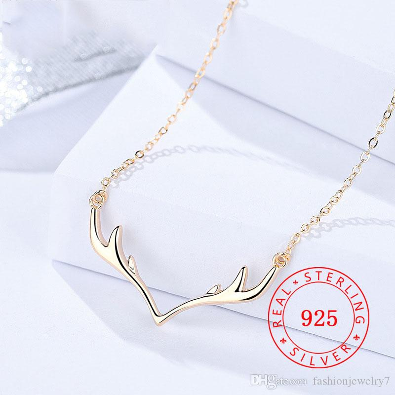 DA814 100% S925 sterling sliver Deer Antler Necklaces Jewelry Christmas Necklace for Woman Colar Design Rose Gold Plated Girls Jewelry