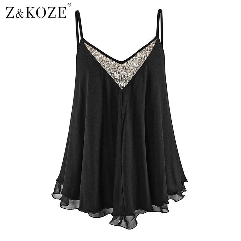 ZKOZE Womens Sequins Sling Camisole col V en mousseline de soie gilet chemise dames d'été débardeurs noir / blanc camis tops blusa feminino