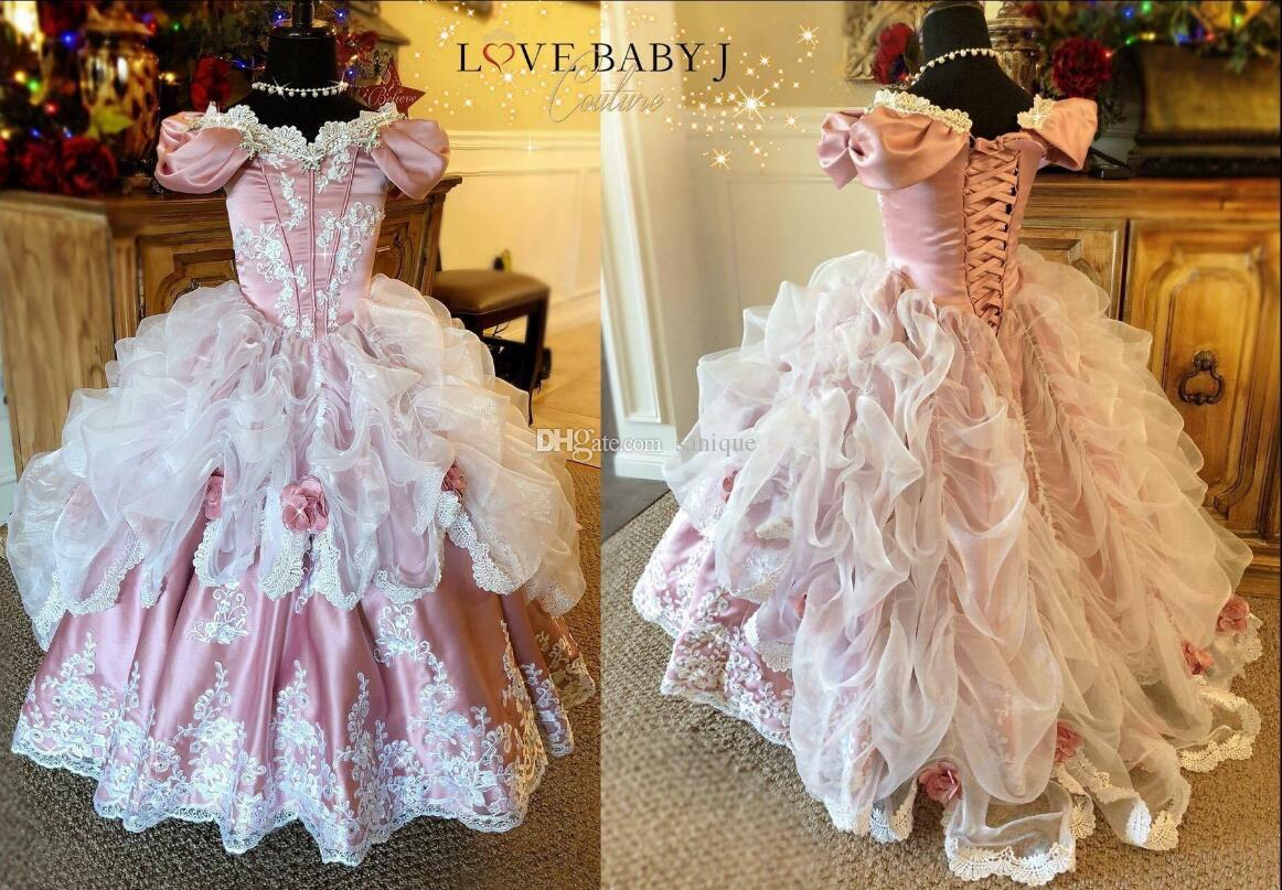 2019 прекрасная принцесса бальное платье Pageant платье корсет задние оборками кружева аппликация цветок девушки платья на заказ малыша день рождения платья