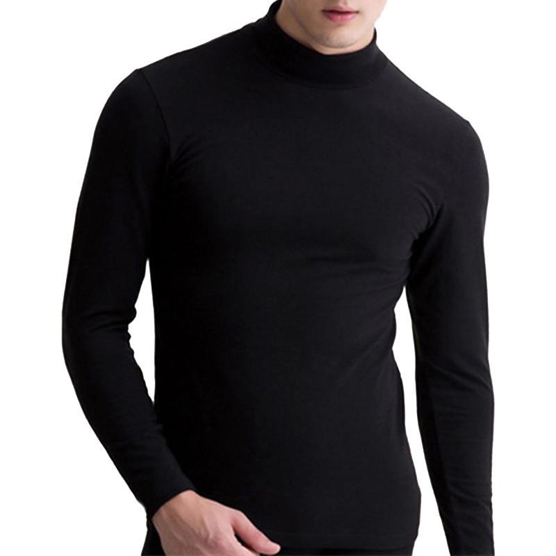 Fseason-Men Classic Fit Mock Neck Pure Color Thermal T-Shirt Top