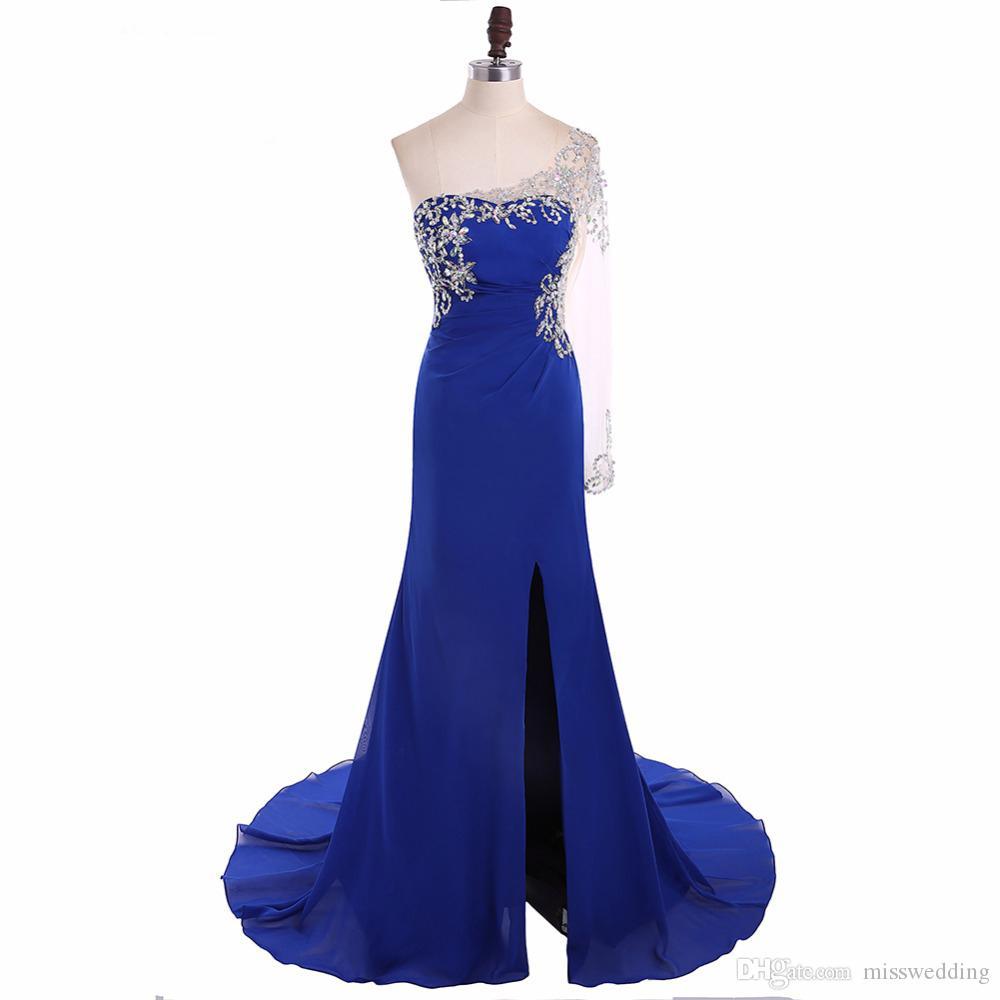 Vestido De Noche Königsblau Chiffon Abendkleid Mit Perlen Einarmiges Design Attraktives Damen Bankettkleid