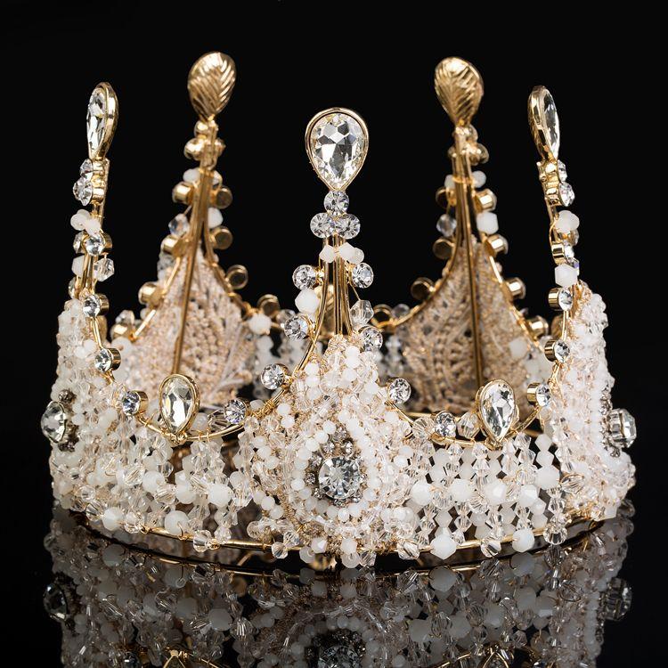 El oro novia de la boda joyería de lujo del Rhinestone Tiaras corona de la reina de la princesa Crown Tiara tocado corona Accesorios para el cabello