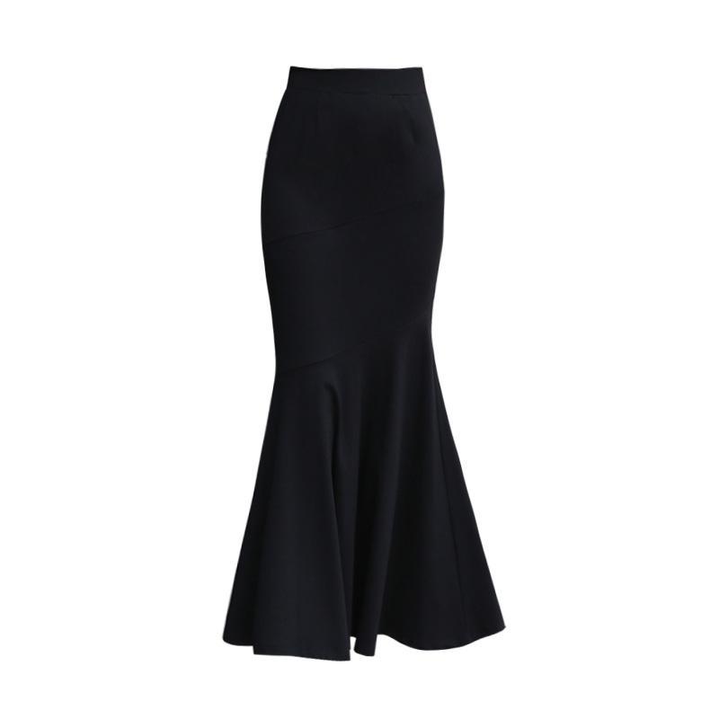 52ae95146e Winter Long Skirt Women Black Maxi Skirt Autumn Solid Color Ankle Length Mermaid  Skirts OL Workwear