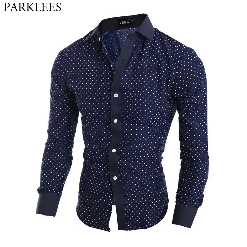 New Fashion Mens Button Luxury Casual Slim Stylish Polka Dot Dress Shirts 6 Size