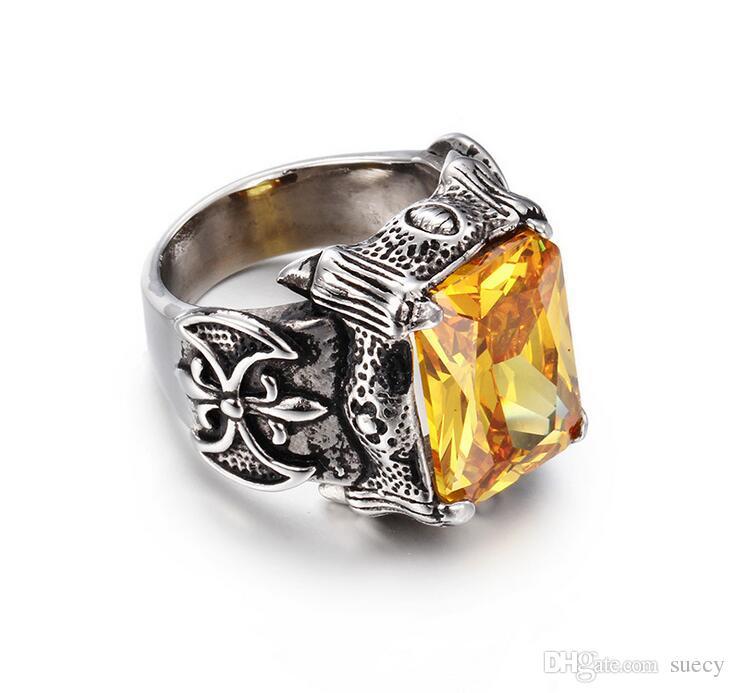 Clássico Dragon Claw punk jóias anéis Big CZ Stone Anel For Man Homem de Aço Inoxidável vermelho / azul / preto / branco / amarelo / roxo de cristal