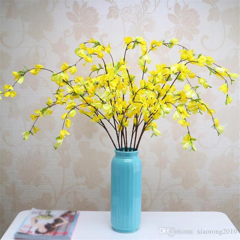 Поддельные длинный стебель примулы моделирование желтый цвет зима Жасмин для свадьбы главная витрина декоративные искусственные цветы
