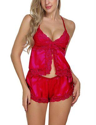 Ensemble de pyjamas sexy en dentelle Satin pour femmes avec des vêtements de nuit en soie soyeux comme de la soie.